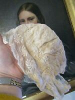 GORGEOUS ANTIQUE 19TH CENTURY CHILDS HANDMADE LACE BONNET HAT FRENCH