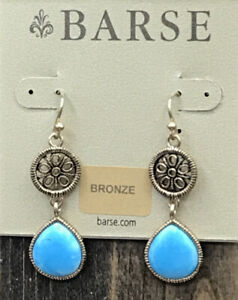 Barse Turquoise Howlite Lace Earrings - Bronze-New With Tags