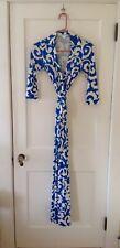 Diane Von Furstenberg DVF (0) XS/S Abigail Maxi Dress 100% Silk Never Worn Blue
