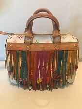 Auth Louis Vuitton Limited Edition White Multicolor Fringe Speedy 25 Tote Bag!