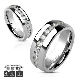 Stainless Steel Eternity CZ Wedding Band Ring 4mm 6mm 8mm Size 5-13 COMFORT FIT