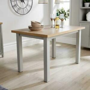 Grey with Oak Top 1.2m Two Tone Wooden Dining Kitchen Table Avon