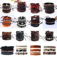 Fashion Men's Braided Handmade Genuine Leather Punk Cuff Bracelet Wristband Set