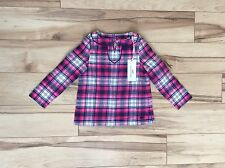 NEW vineyard vines Toddler Girls Party Plaid Tunic Top Size 2T NWT Pink Cotton