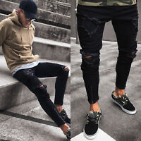 Men Skinny Stretch Slim Fit Pants Destroyed Denim Designer Casual Jeans Trousers