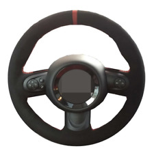 Suede Leather Hand Sewn Car Steering Wheel Cover Customize Skidproof for Mini