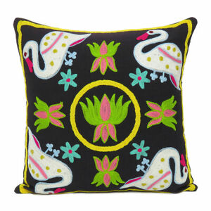 Floral Cushion Cover Sujani Embroidery Throw Pillow Case Indian Covers Decor 18""
