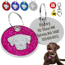 Bling Dog ID Tags Personalised Round Alloy Free Engraved Dog Head Circle Disc