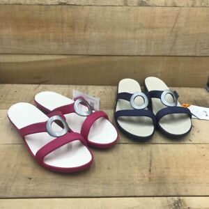 Crocs Womens Lot OF 2 Sanrah Slide Sandals Multicolor Slip On 11 W New