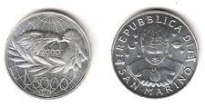2000 San Marino Lire 5000 Argento Anno della Pace Fior Di Conio Unc