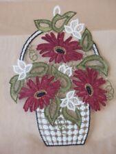 wunderschönes textiles Fensterbild, Blumenkorb, 17x23cm, neu