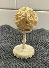 Antique 6 Layer Chinese Carved Puzzle Ball w Stand BIN Dragons