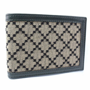 GUCCI 233157 Bill Compartment wallet beige/Brown canvas/leather mens