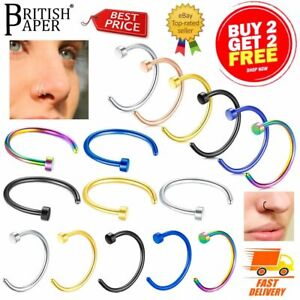 Nose Ring Fake Nose Rings Lip Rings Small Thin Hoop Body Piercing Surgical Steel