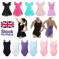 UK Kids Girls Gymnastics Ballet Dance Wear Tutu Dress Ballerina Leotards Costume