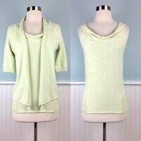 Size Small S 1 Margaret O'Leary Twinset Cotton Sweater Cardigan Tank Top Set