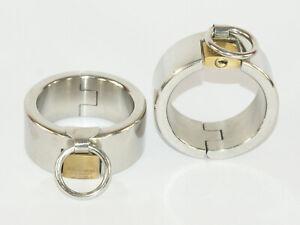 Stainless Steel Metal Bondage Wrist/Ankle Cuffs-Padlock Locking-shackles