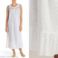 NWT $68 EILEEN WEST NIGHTGOWN S/L/XL NIGHT BREEZE BLUE on WHITE  100% COTTON