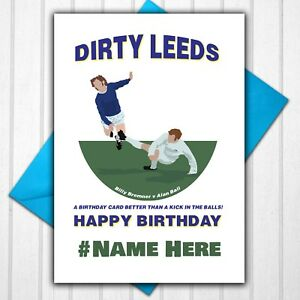 Leeds United Billy Bremner Personalised Birthday Card Any Name or Relative