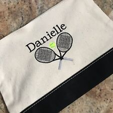 Personalized Monogrammed Tennis Sports Canvas Cosmetic Toiletry Bag Pouch