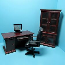 Dollhouse Miniature Office Desk, Chair, Bookcase and Computer in Mahogany T3619