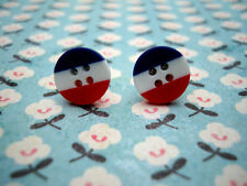 FUNKY RED WHITE BLUE FRENCH STRIPE EARRINGS KITSCH CUTE RETRO BOHO CHIC 80s GIFT