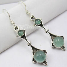 "925 Sterling Silver GREEN APATITE HANDMADE STONE TIBETAN Dangle Earrings 1.8"""