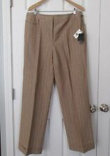 NWT Saks Fifth Avenue $295 Tan Multi Classic Dress Pant Fabric Made Italy Sz 14