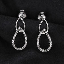20mm Gorgeous Cubic Zirconia  Solid 925 Silver Drop Earrings  Gift Stunning Hot