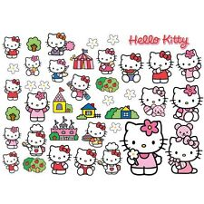 OFFICIAL HELLO KITTY WALL STICKERS FURNITURE MIRROR 40 PIECES KIDS BEDROOM