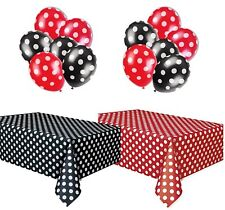 Polka Dot Plastic Tablecloth Red  White and Black  White, and Two Packages of
