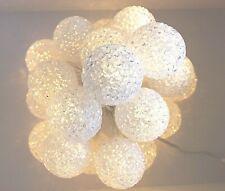 20er LED Lichterkette Timer EVA Ball Kugel beleuchtet Strom innen wamweiß Bälle