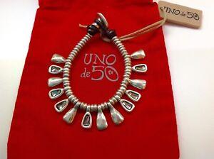 """NWT Uno de 50 Silver-plate Bracelet w/ Swarovski Crystals 6"""" """"Cosmopolitan"""" $145"""