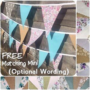 Fabric Bunting Floral Hessian Handmade Wedding decor 3-12m+Free custom Minis
