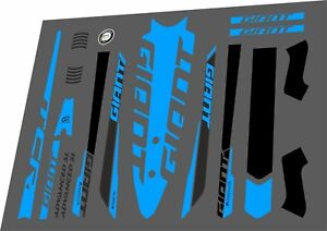 GIANT TCR Advanced SL 2016 Frame Stickers Factory Decal Adhesive Vinyl Set Blue