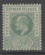 "Islas Caimán SG8a 1905 1/2 D Verde ""abollada Marco"" MTD Menta"