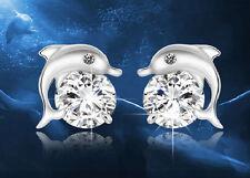 Ohrstecker Ohrring Delphin Delfin Tier aus 925 Sterling Silber mit Kristall weiß