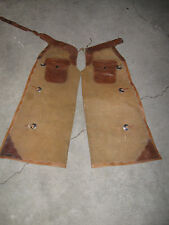Vintage Cowboy Batwing Chaps Old West Floral Tooled Leather Western Gates Morrow