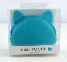 mimi Pochi Silicone Coin Purse Cat - Turquoise Blue