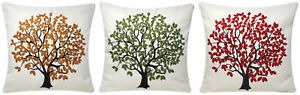 Polycotton Tree Print Cushion Cover 17 x 17 inch Embroidered Sofa Bed Couch