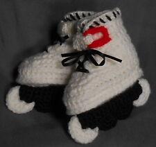 Custom Design Handmade Crochet White/red Aggressive Style Skates Baby Booties