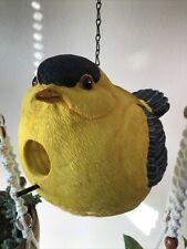 Oriole or Goldfinch Yellow Black Feathered Resin Painted Hanging Birdhouse