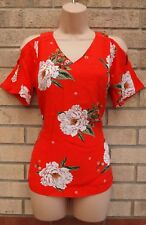 FLORENCE & FRED RED GREEN WHITE FLORAL CUT OUT SHOULDER BLOUSE TOP T SHIRT 6 XS