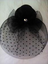 Womens  black Net Hat Fascinator Hair Clip Wedding Cocktail Party Decoration