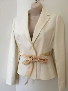 New Ann Taylor Womens Classic Off White Open Front Suit Jacket Blazer Size 2P
