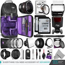 Canon Rebel T6i & EOS 750D Advanced Accessory Kit - Flash, Bag, Lenses & Filters