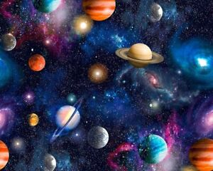 Universe Galaxy Digital 100% Cotton Little Johnny print planets sparkly sky