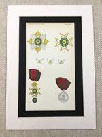 1858 Militare Medaglie Cavaliere Grand Cross Ducato Di Saxe Cromolitografia Con