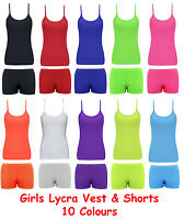 Kids Girls Neon Fluorescent Vest Top & Shorts 80s Girls Dance Wear Fancy Dress