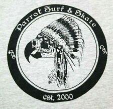 Parrot Surf & Skate T Shirt L Large Gray Headdress Bird Skull Skateboarding SC